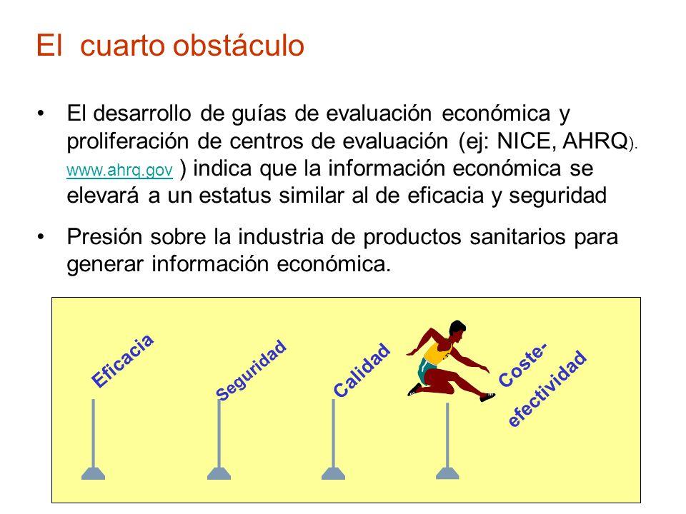 El cuarto obstáculo El desarrollo de guías de evaluación económica y proliferación de centros de evaluación (ej: NICE, AHRQ ). www.ahrq.gov ) indica q