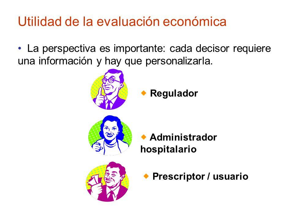 Utilidad de la evaluación económica Regulador Administrador hospitalario Prescriptor / usuario La perspectiva es importante: cada decisor requiere una