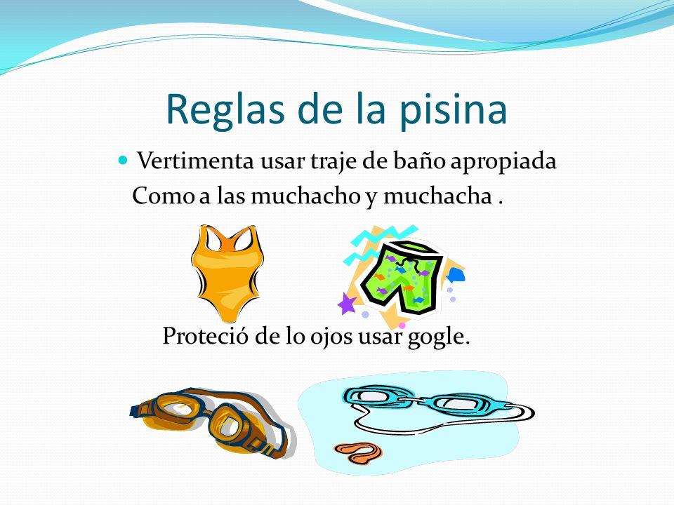 Seguridad La natación no es peligrosa en si mismo y basta con seguir las reglas sentido comun para cubrir la seguridad. Sin embargo, si no se tienen e