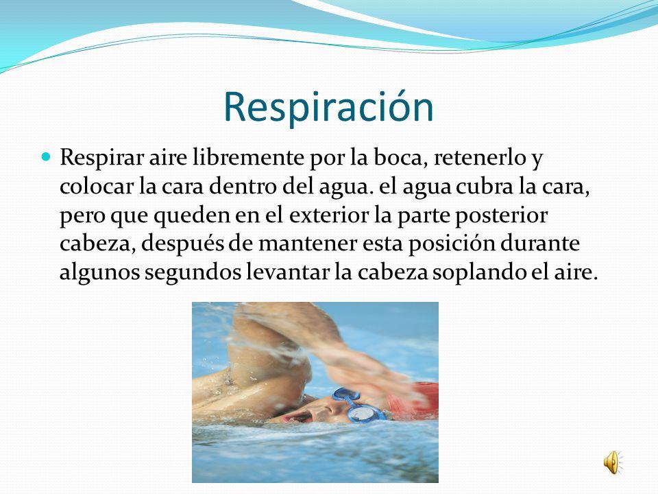 Respiración Respirar aire libremente por la boca, retenerlo y colocar la cara dentro del agua.