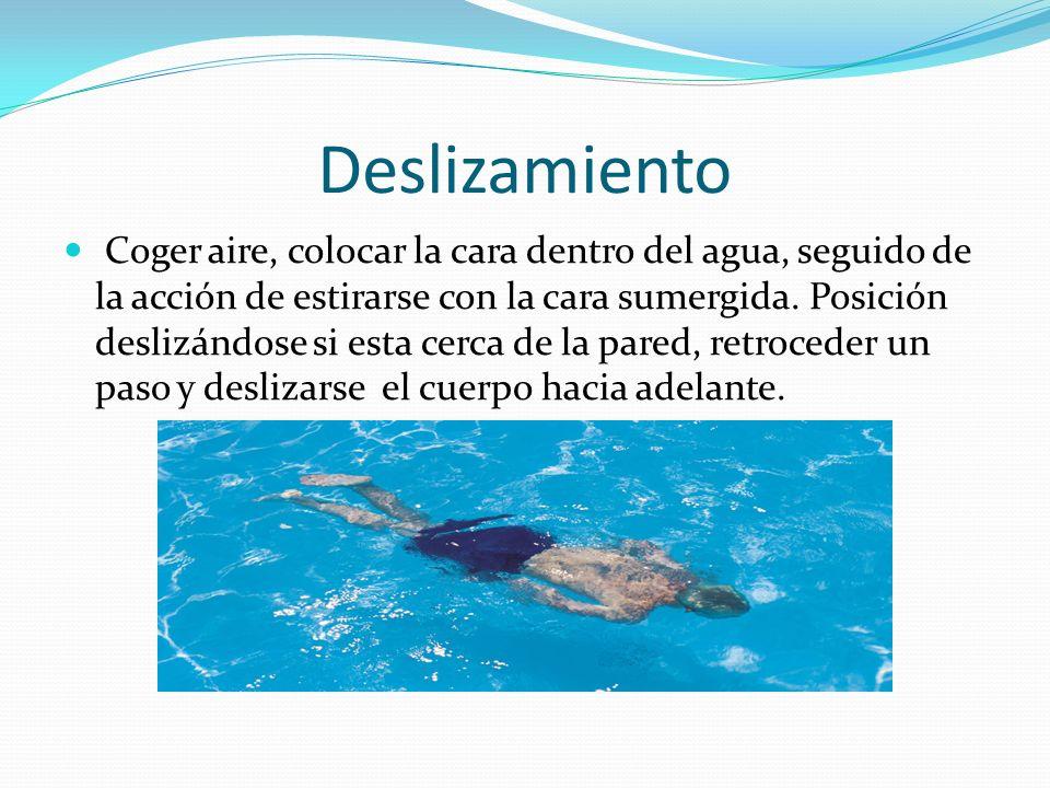 Deslizamiento Coger aire, colocar la cara dentro del agua, seguido de la acción de estirarse con la cara sumergida.