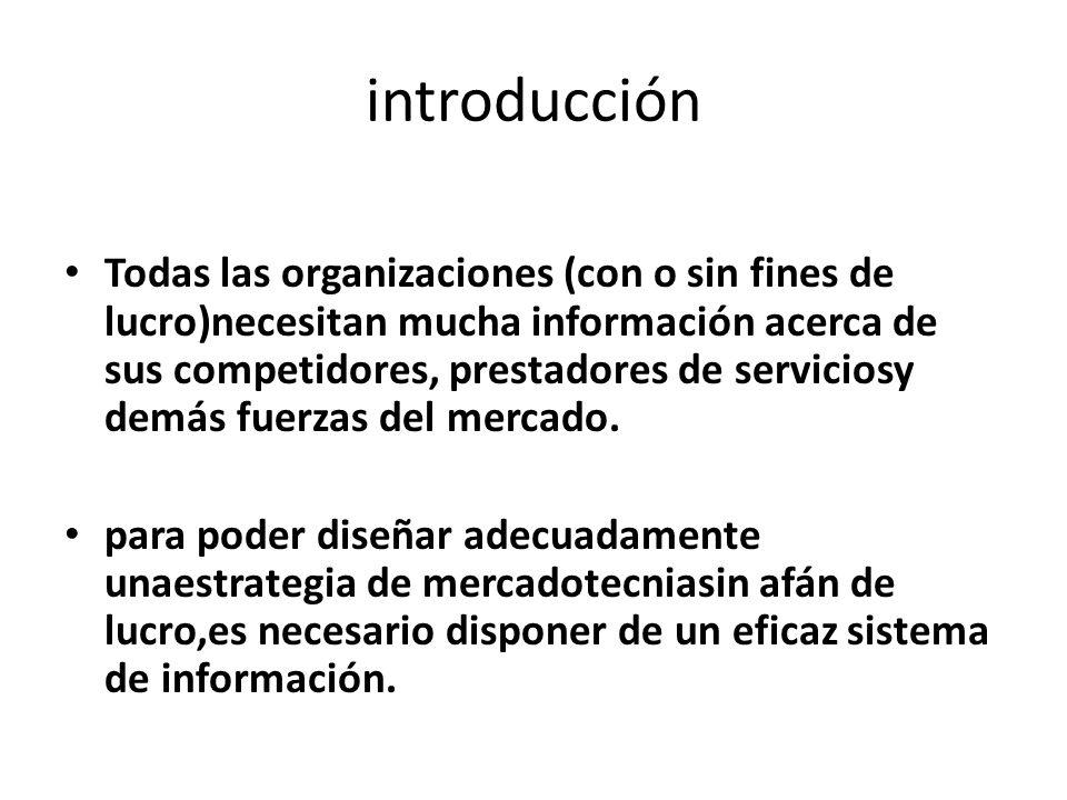 introducción Todas las organizaciones (con o sin fines de lucro)necesitan mucha información acerca de sus competidores, prestadores de serviciosy demá