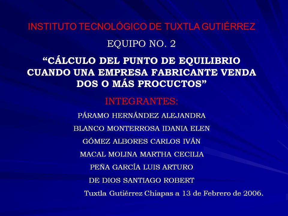 INSTITUTO TECNOLÓGICO DE TUXTLA GUTIÉRREZ EQUIPO NO. 2 CÁLCULO DEL PUNTO DE EQUILIBRIO CUANDO UNA EMPRESA FABRICANTE VENDA DOS O MÁS PROCUCTOS INTEGRA