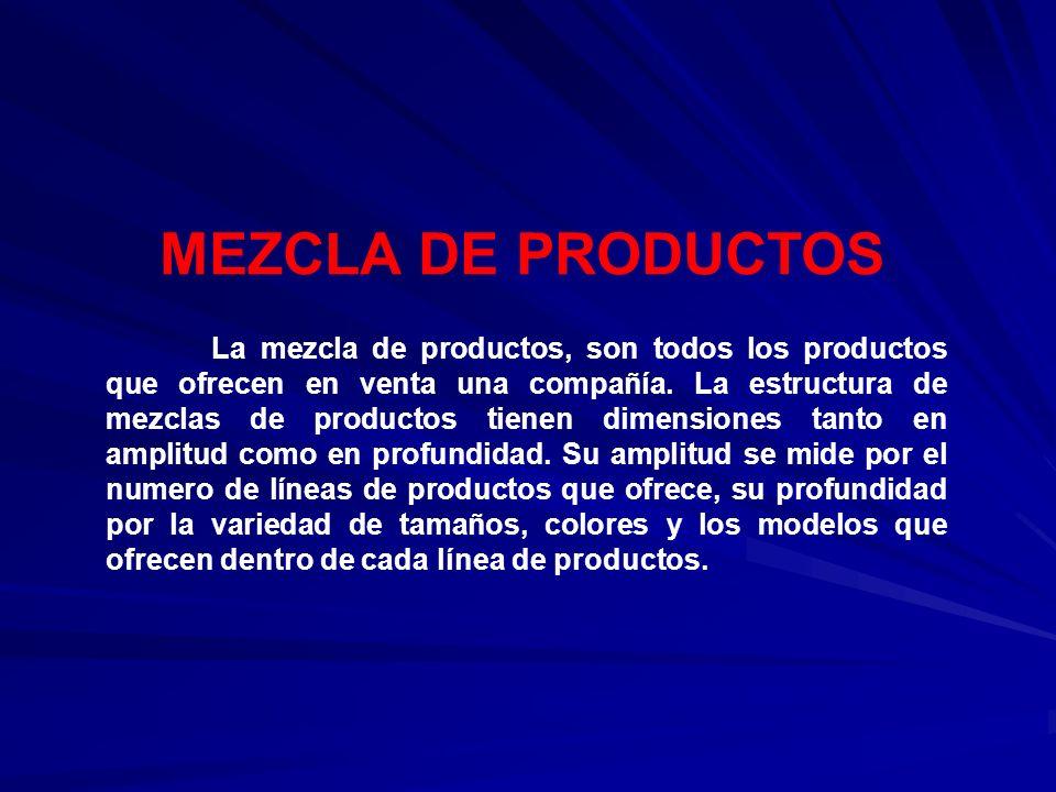MEZCLA DE PRODUCTOS La mezcla de productos, son todos los productos que ofrecen en venta una compañía. La estructura de mezclas de productos tienen di