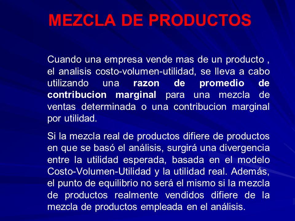 MEZCLA DE PRODUCTOS Cuando una empresa vende mas de un producto, el analisis costo-volumen-utilidad, se lleva a cabo utilizando una razon de promedio