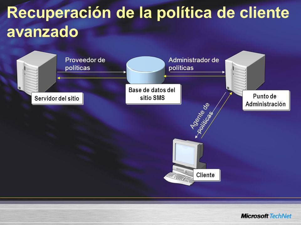Recuperación de la política de cliente avanzado Servidor del sitio Punto de Administración Cliente Base de datos del sitio SMS Proveedor de políticas Administrador de políticas Agente de políticas
