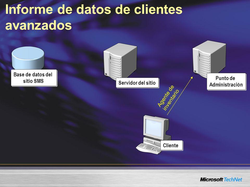 Informe de datos de clientes avanzados Servidor del sitio Punto de Administración Cliente Base de datos del sitio SMS Agente de inventario