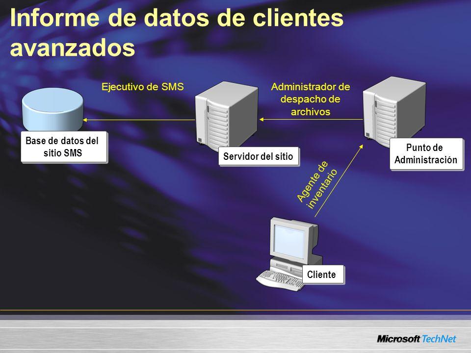 Informe de datos de clientes avanzados Servidor del sitio Punto de Administración Cliente Base de datos del sitio SMS Ejecutivo de SMSAdministrador de despacho de archivos Agente de inventario