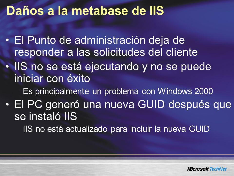 Daños a la metabase de IIS El Punto de administración deja de responder a las solicitudes del cliente IIS no se está ejecutando y no se puede iniciar con éxito Es principalmente un problema con Windows 2000 El PC generó una nueva GUID después que se instaló IIS IIS no está actualizado para incluir la nueva GUID