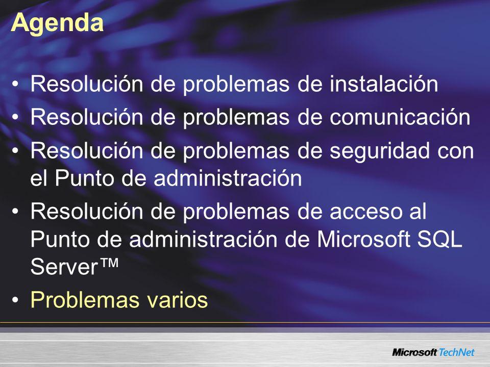 Agenda Resolución de problemas de instalación Resolución de problemas de comunicación Resolución de problemas de seguridad con el Punto de administrac