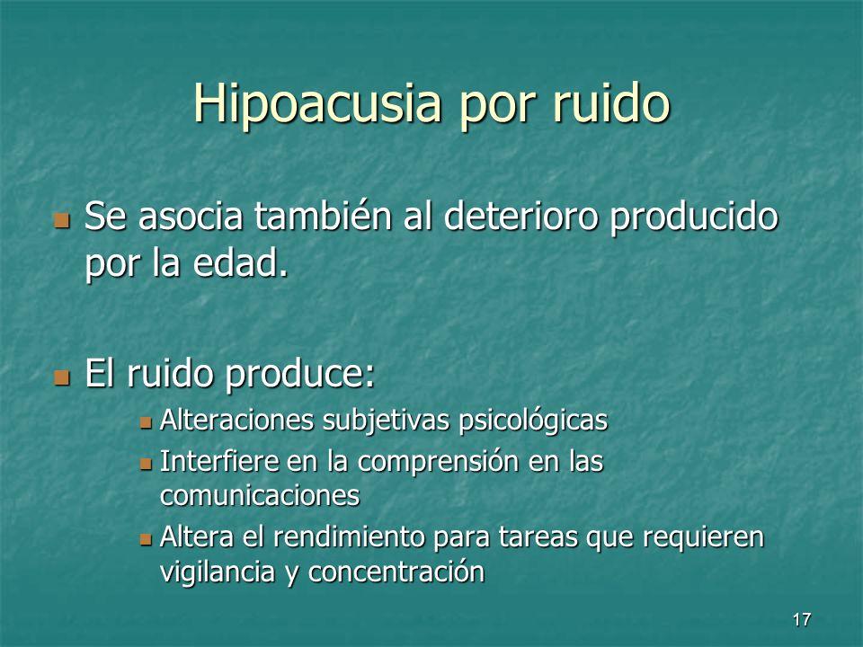 18 El ruido Medidas preventivas: Medidas preventivas: Disminución de la exposición Disminución de la exposición Protección mediante: Protección mediante: Tapones Tapones Cascos Cascos Auriculares Auriculares
