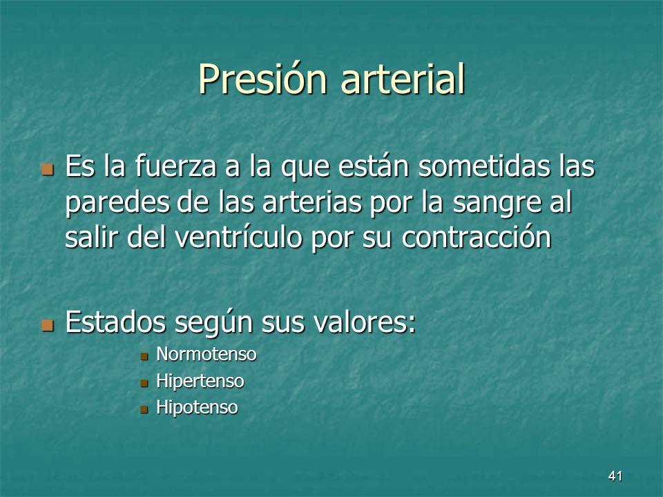 42 Presión arterial Valores de un adulto normal: Valores de un adulto normal: 120 / 80 mmHg