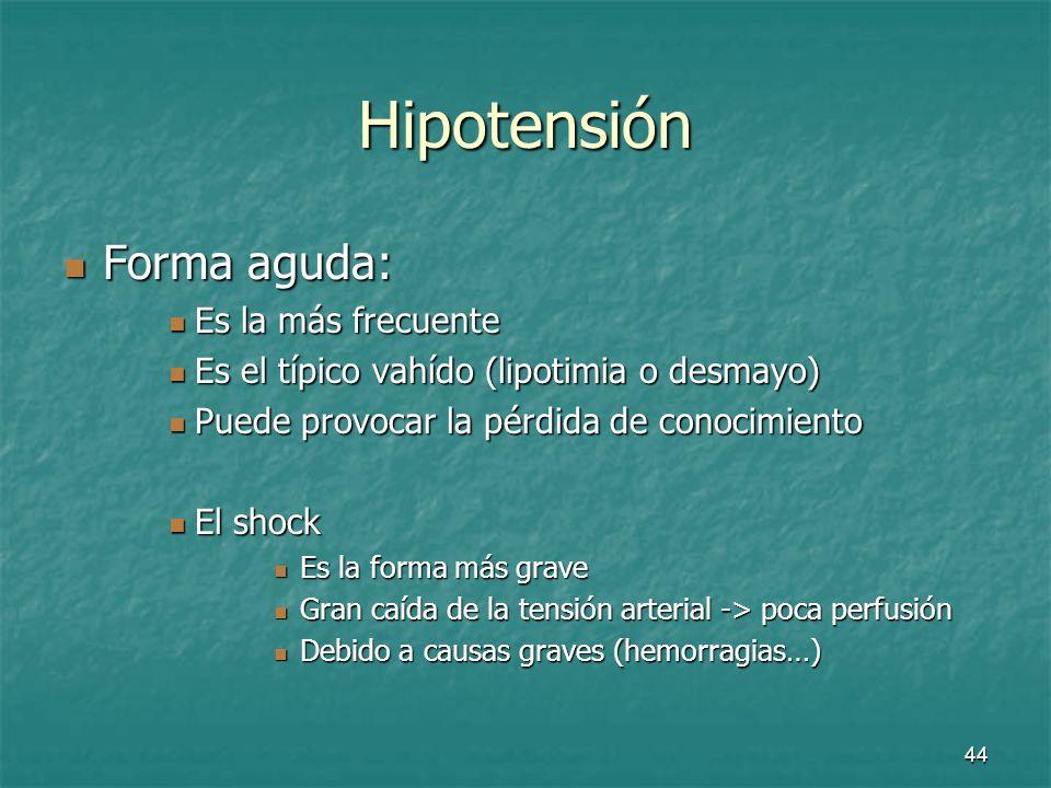 45 Hipotensión Formas crónicas intermitentes: Formas crónicas intermitentes: Hipotensión esencial primaria Hipotensión esencial primaria Hipotensión por desregulación vegetativa Hipotensión por desregulación vegetativa