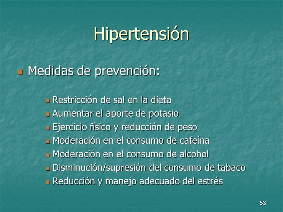 54 Conclusión de la HTA Es un factor de riesgo de enfermedad coronaria y cerebro-vascular Es un factor de riesgo de enfermedad coronaria y cerebro-vascular Tratamiento de la HTA: Tratamiento de la HTA: Medidas dietéticas Medidas dietéticas Medicamentos hipertensivos Medicamentos hipertensivos