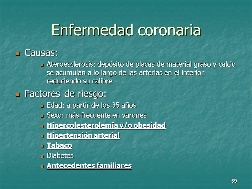 60 Enfermedad coronaria Sus manifestaciones clínicas son: Sus manifestaciones clínicas son: La angina de pecho La angina de pecho El infarto de miocardio El infarto de miocardio
