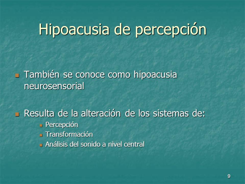 10 Hipoacusia de percepción Suelen ser procesos que afectan al oído interno o al sistema nervioso Suelen ser procesos que afectan al oído interno o al sistema nervioso Hay dos causas comunes: Hay dos causas comunes: La Presbiacusia o sordera senil La Presbiacusia o sordera senil La hipoacusia por el ruido La hipoacusia por el ruido