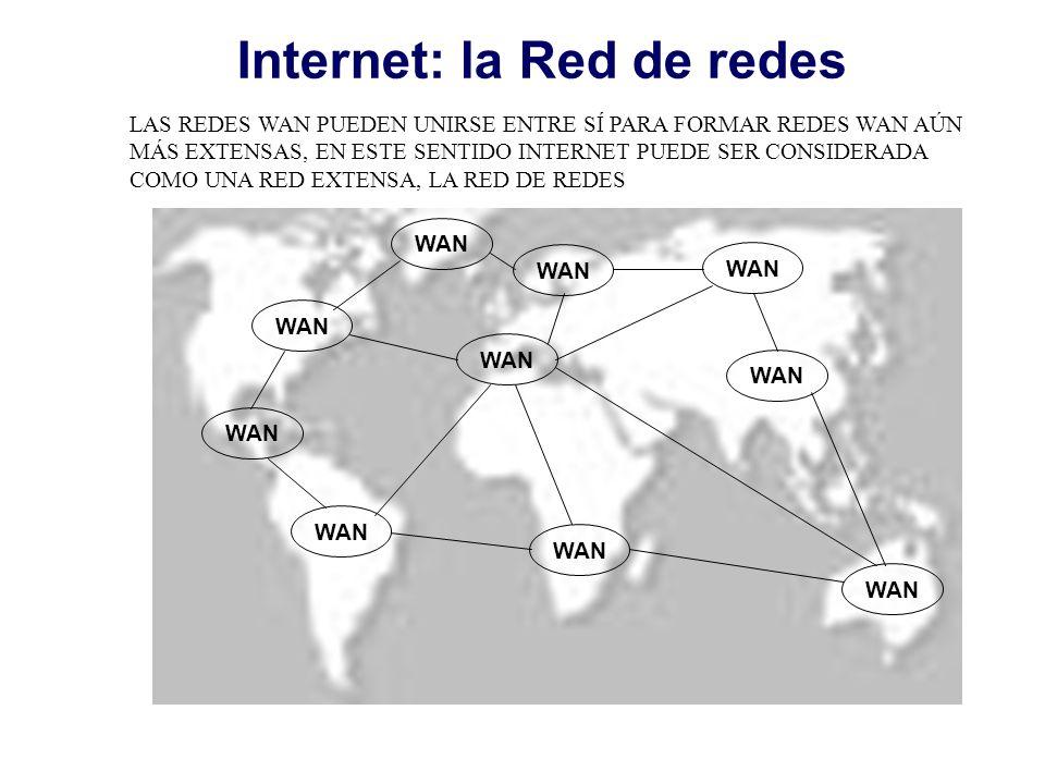 WAN Internet: la Red de redes LAS REDES WAN PUEDEN UNIRSE ENTRE SÍ PARA FORMAR REDES WAN AÚN MÁS EXTENSAS, EN ESTE SENTIDO INTERNET PUEDE SER CONSIDER