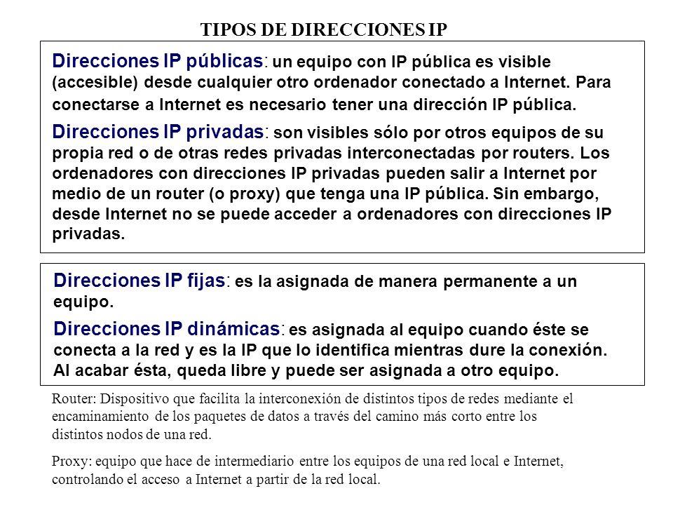 TIPOS DE DIRECCIONES IP Direcciones IP públicas: un equipo con IP pública es visible (accesible) desde cualquier otro ordenador conectado a Internet.