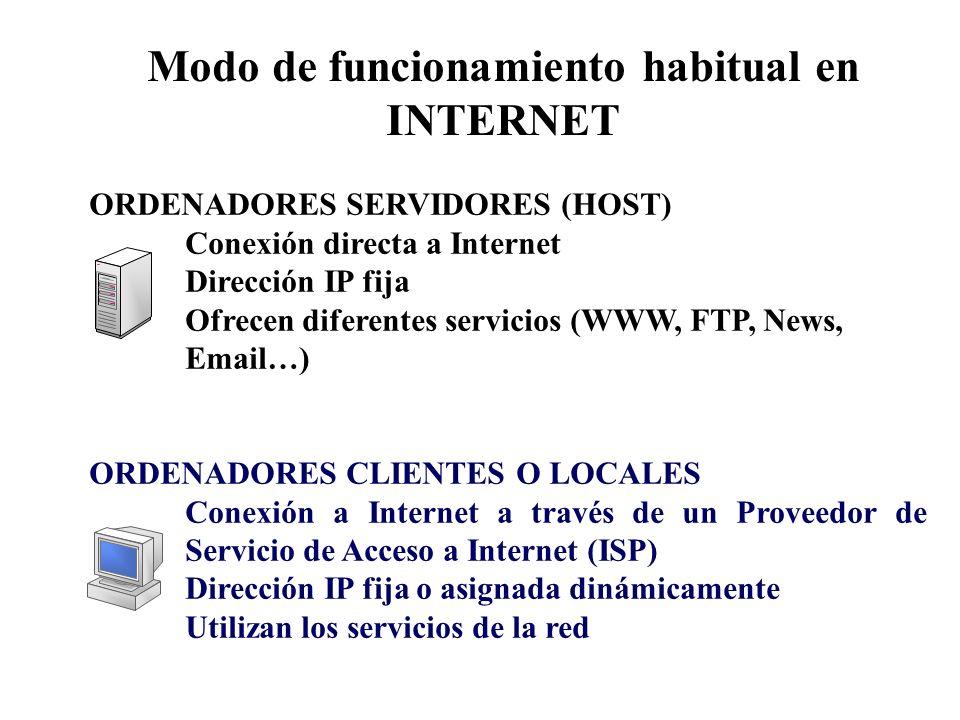 ORDENADORES SERVIDORES (HOST) Conexión directa a Internet Dirección IP fija Ofrecen diferentes servicios (WWW, FTP, News, Email…) ORDENADORES CLIENTES