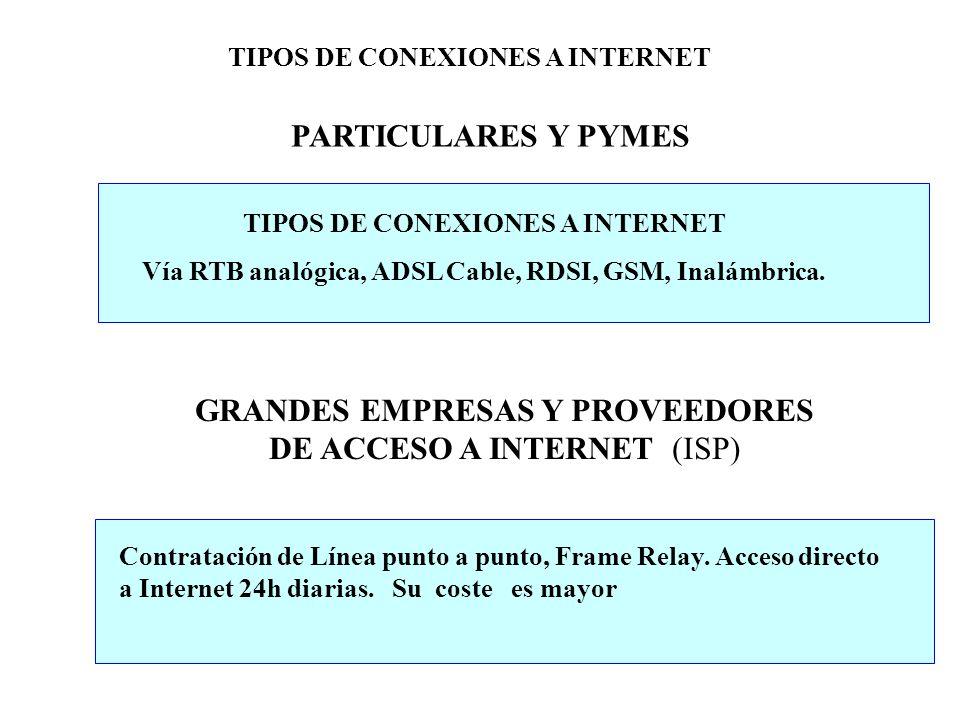 PARTICULARES Y PYMES TIPOS DE CONEXIONES A INTERNET Vía RTB analógica, ADSL Cable, RDSI, GSM, Inalámbrica. GRANDES EMPRESAS Y PROVEEDORES DE ACCESO A