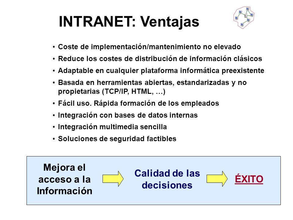 INTRANET: Ventajas Coste de implementación/mantenimiento no elevado Reduce los costes de distribución de información clásicos Adaptable en cualquier p