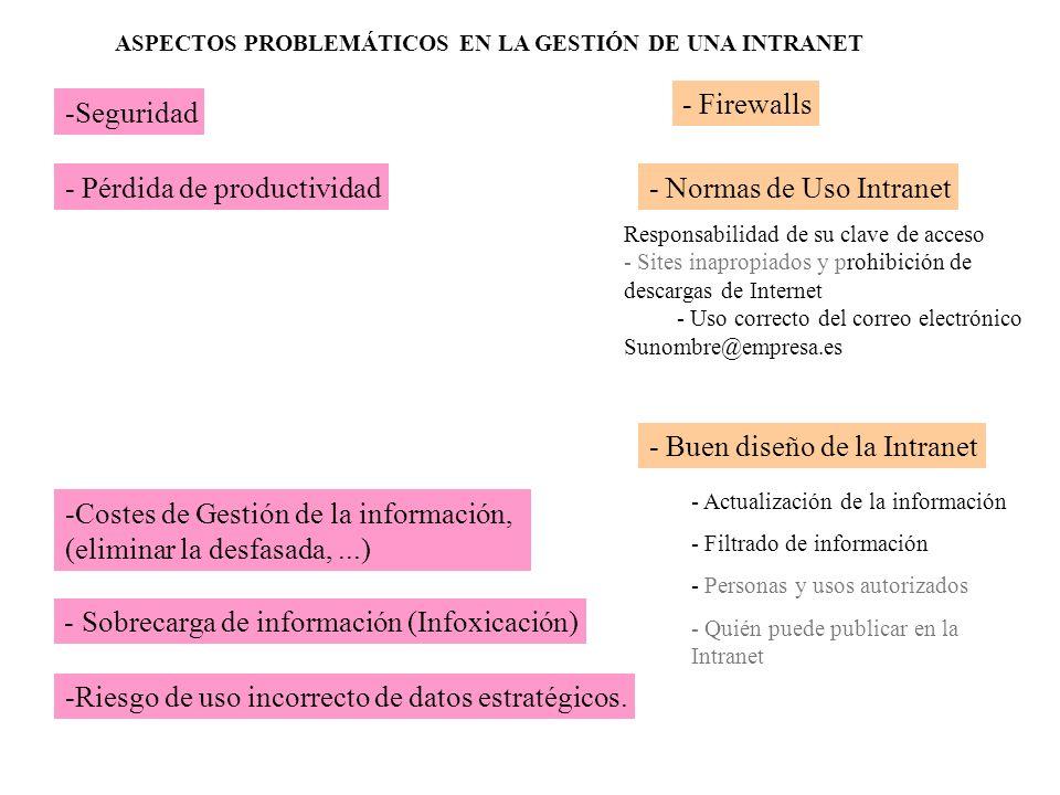 -Costes de Gestión de la información, (eliminar la desfasada,...) - Pérdida de productividad - Sobrecarga de información (Infoxicación) -Seguridad -Ri