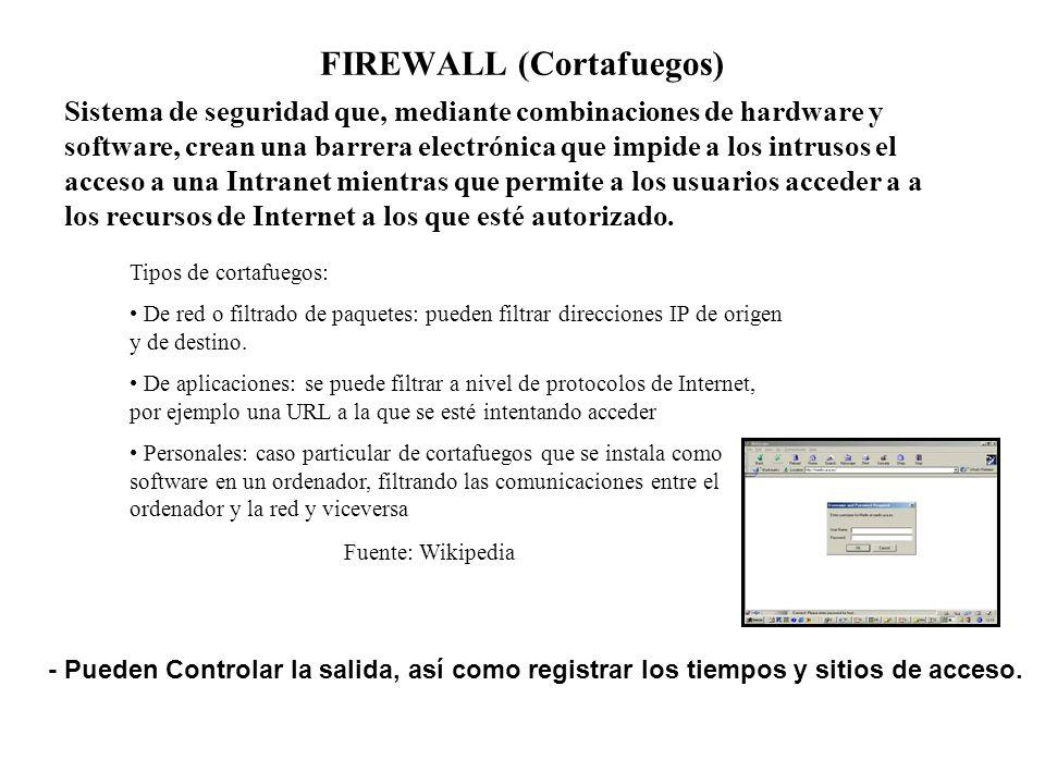 FIREWALL (Cortafuegos) Sistema de seguridad que, mediante combinaciones de hardware y software, crean una barrera electrónica que impide a los intruso