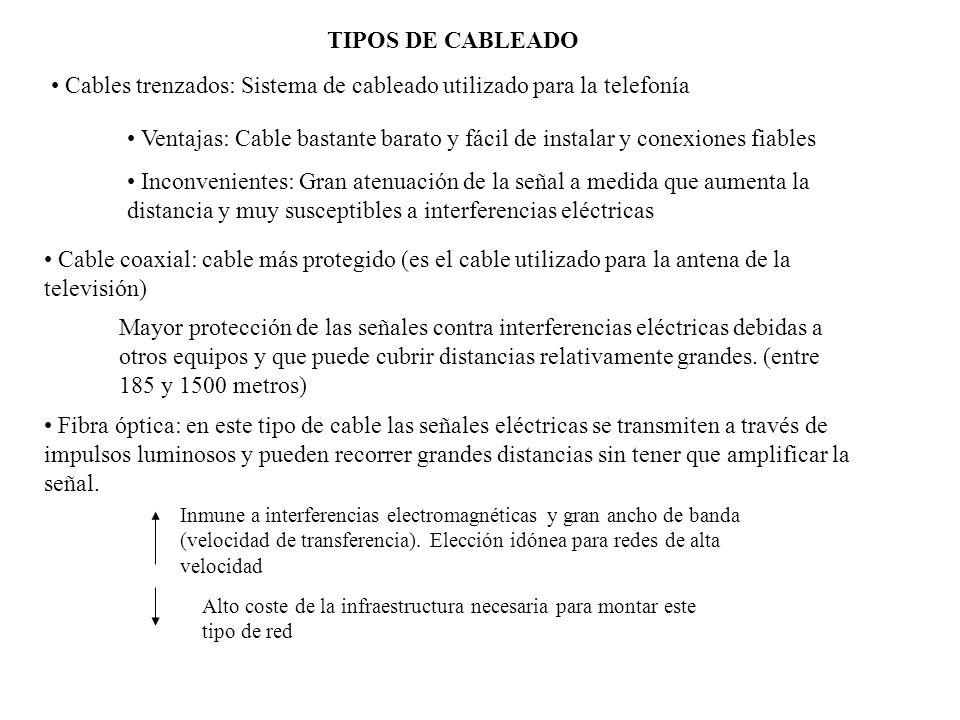 TIPOS DE CABLEADO Cables trenzados: Sistema de cableado utilizado para la telefonía Ventajas: Cable bastante barato y fácil de instalar y conexiones f