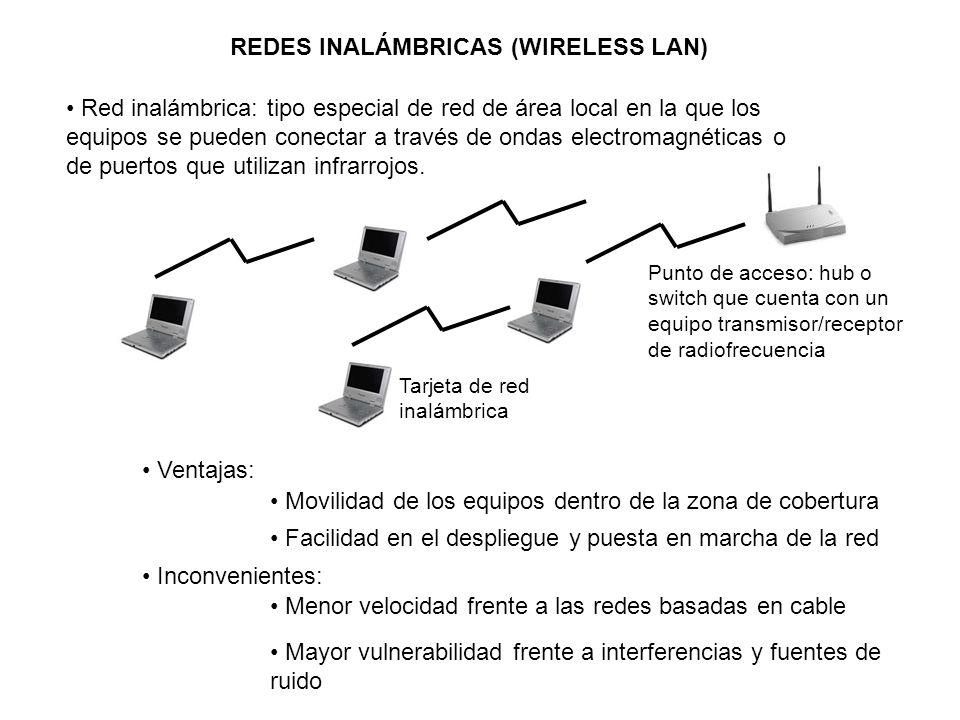 REDES INALÁMBRICAS (WIRELESS LAN) Red inalámbrica: tipo especial de red de área local en la que los equipos se pueden conectar a través de ondas elect
