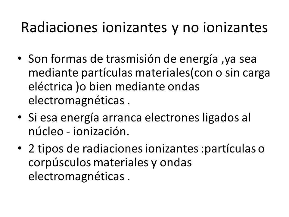 Radiaciones ionizantes y no ionizantes Son formas de trasmisión de energía,ya sea mediante partículas materiales(con o sin carga eléctrica )o bien med