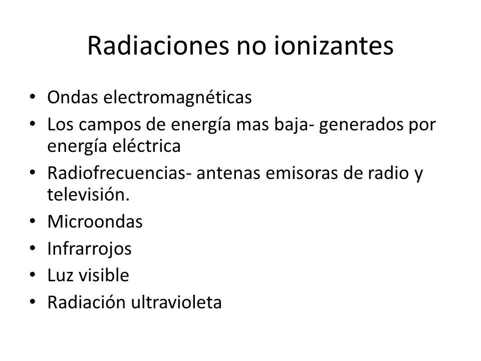 Radiaciones no ionizantes Ondas electromagnéticas Los campos de energía mas baja- generados por energía eléctrica Radiofrecuencias- antenas emisoras d