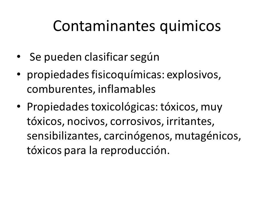 Contaminantes quimicos Se pueden clasificar según propiedades fisicoquímicas: explosivos, comburentes, inflamables Propiedades toxicológicas: tóxicos,