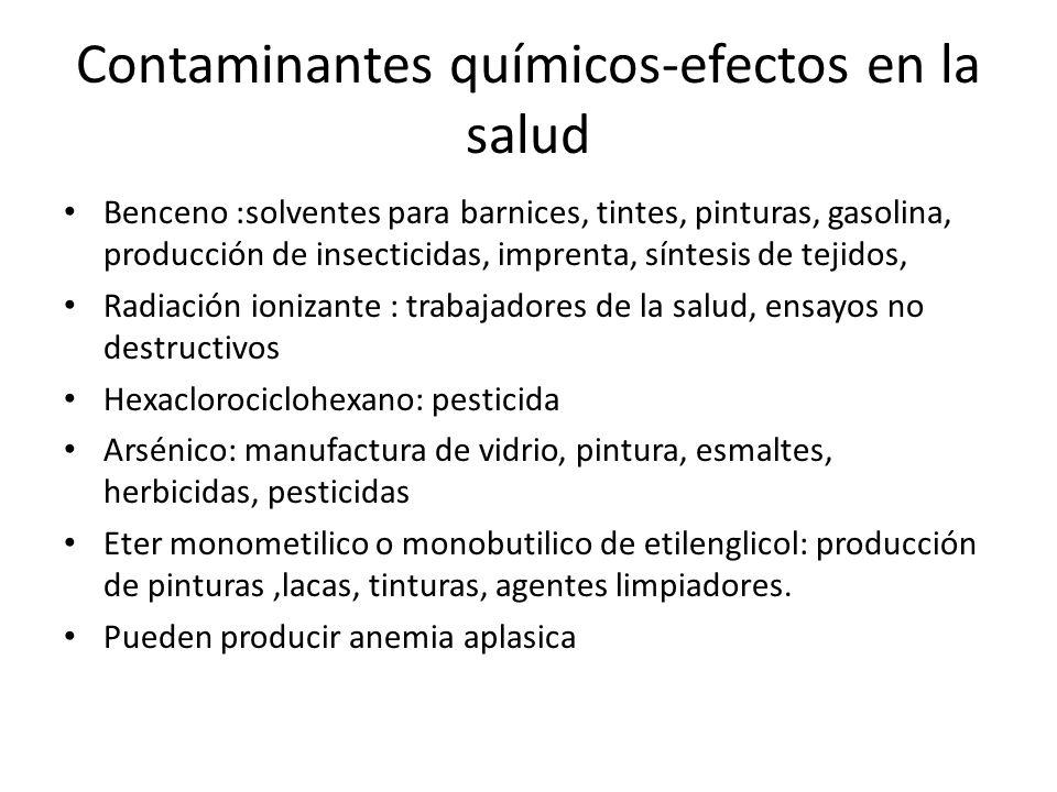 Contaminantes químicos-efectos en la salud Benceno :solventes para barnices, tintes, pinturas, gasolina, producción de insecticidas, imprenta, síntesi