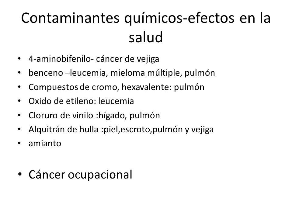 Contaminantes químicos-efectos en la salud 4-aminobifenilo- cáncer de vejiga benceno –leucemia, mieloma múltiple, pulmón Compuestos de cromo, hexavale