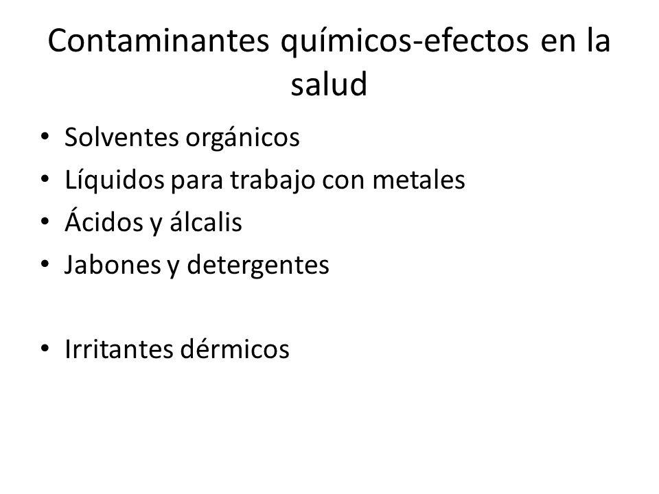 Contaminantes químicos-efectos en la salud Solventes orgánicos Líquidos para trabajo con metales Ácidos y álcalis Jabones y detergentes Irritantes dér