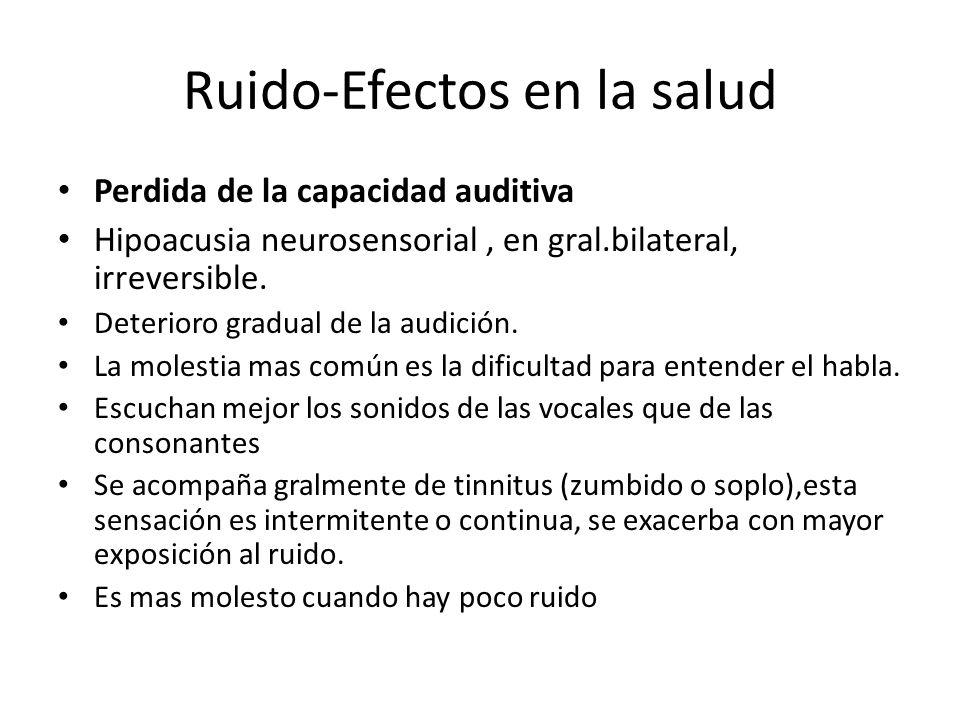 Ruido-Efectos en la salud Perdida de la capacidad auditiva Hipoacusia neurosensorial, en gral.bilateral, irreversible. Deterioro gradual de la audició