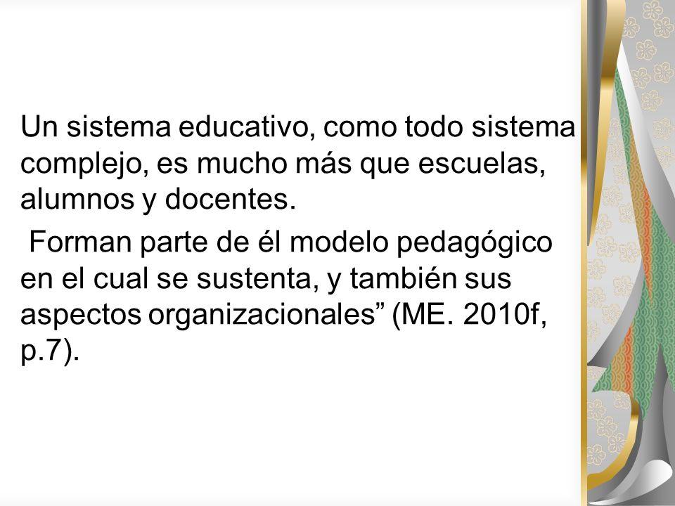 Un sistema educativo, como todo sistema complejo, es mucho más que escuelas, alumnos y docentes. Forman parte de él modelo pedagógico en el cual se su