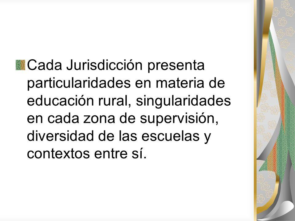 Cada Jurisdicción presenta particularidades en materia de educación rural, singularidades en cada zona de supervisión, diversidad de las escuelas y co