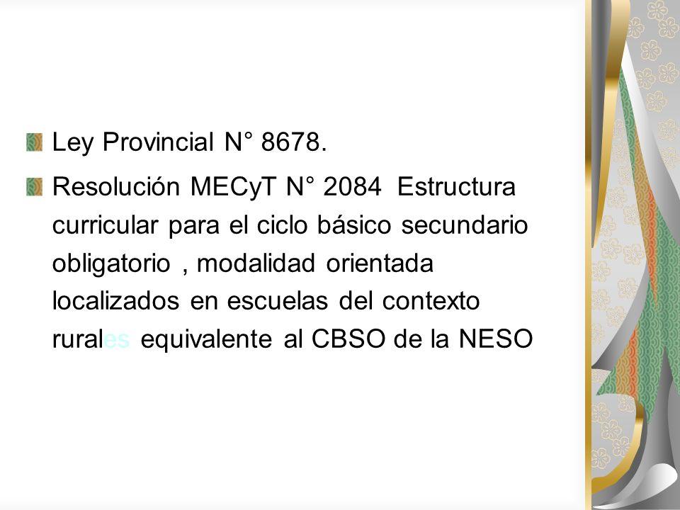 Ley Provincial N° 8678. Resolución MECyT N° 2084 Estructura curricular para el ciclo básico secundario obligatorio, modalidad orientada localizados en