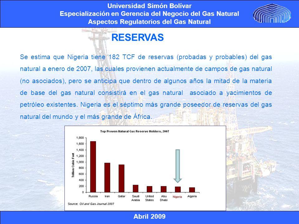 Abril 2009 Universidad Simón Bolívar Especialización en Gerencia del Negocio del Gas Natural Aspectos Regulatorios del Gas Natural Bonny Island fue construido en un área de 2,27 Km2 en la zona en reclamación de Finina en Nigeria.