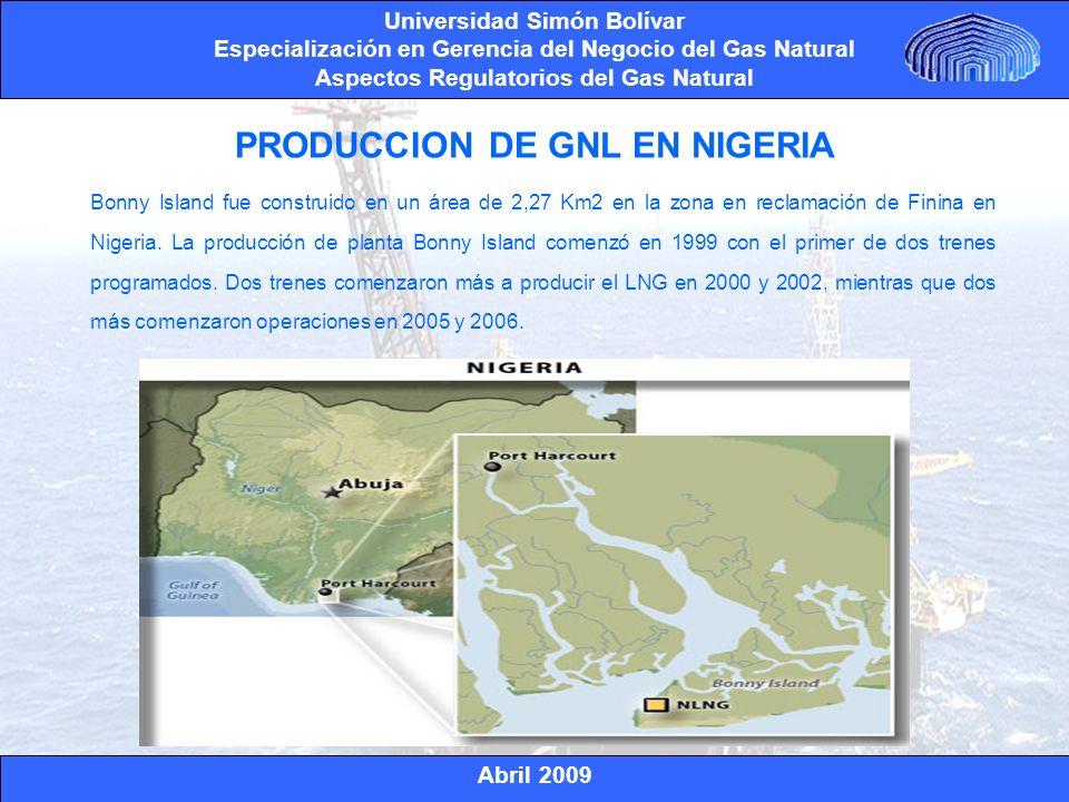 Abril 2009 Universidad Simón Bolívar Especialización en Gerencia del Negocio del Gas Natural Aspectos Regulatorios del Gas Natural La planta de licuefacción de Bonny Island ha alcanzado una capacidad total a 22 millones de toneladas por año LNG (MMTPY).