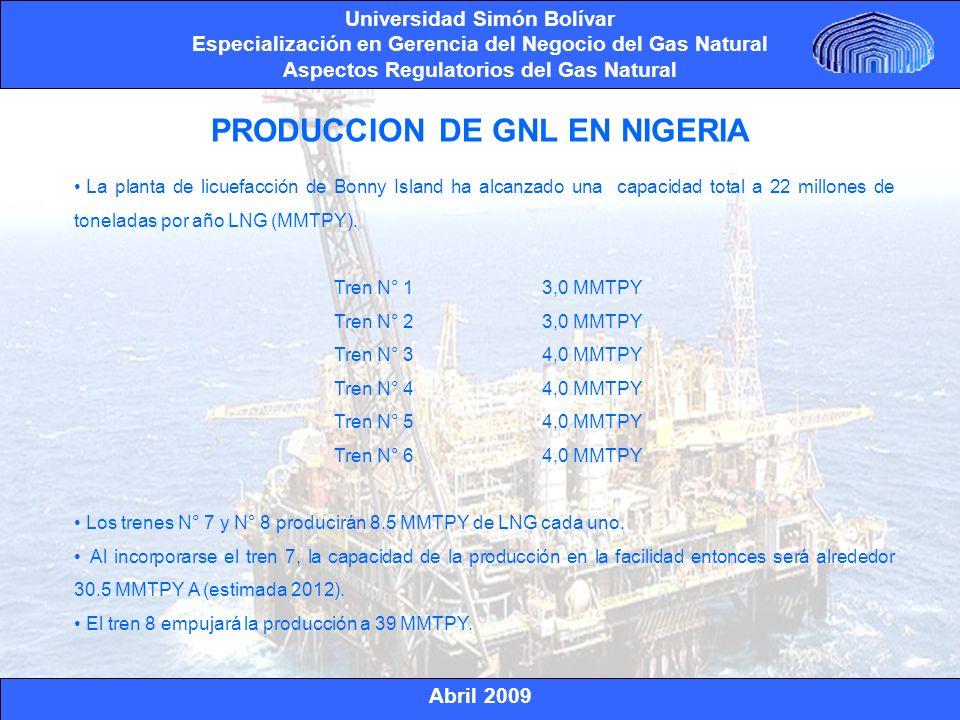 Abril 2009 Universidad Simón Bolívar Especialización en Gerencia del Negocio del Gas Natural Aspectos Regulatorios del Gas Natural Nigerian National Petroleum Corporation (el 49%) Total Nigeria Ltd (el 15%) Eni (10.4%) Shell (25.6%) ESTRUCTURA DE LA EMPRESA DE GNL