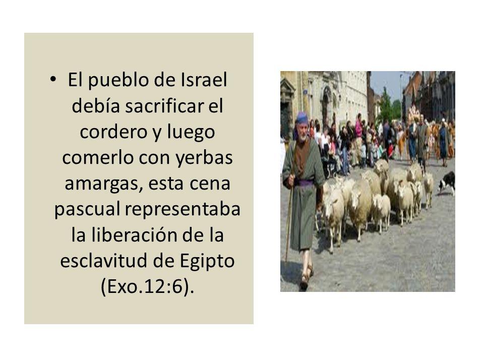 El pueblo de Israel debía sacrificar el cordero y luego comerlo con yerbas amargas, esta cena pascual representaba la liberación de la esclavitud de E