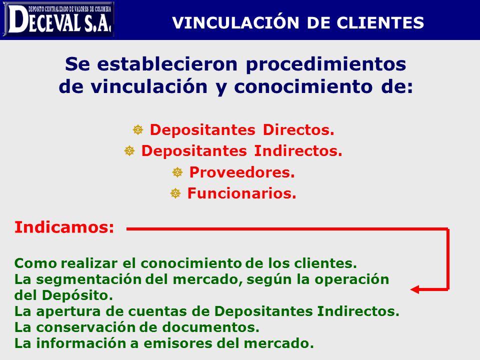Se establecieron procedimientos de vinculación y conocimiento de: Depositantes Directos. Depositantes Indirectos. Proveedores. Funcionarios. VINCULACI