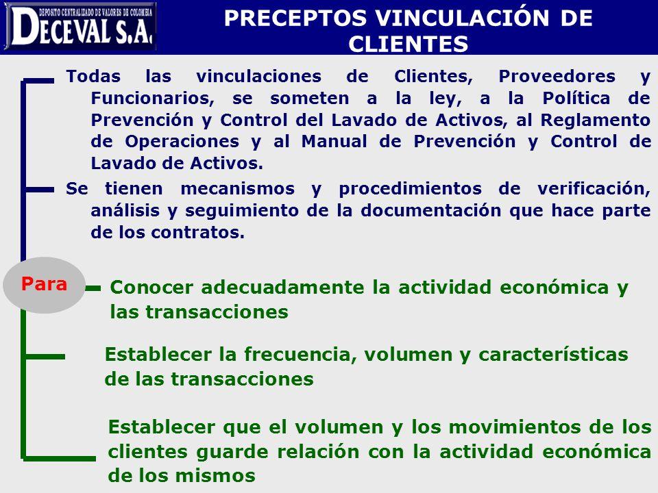 Todas las vinculaciones de Clientes, Proveedores y Funcionarios, se someten a la ley, a la Política de Prevención y Control del Lavado de Activos, al