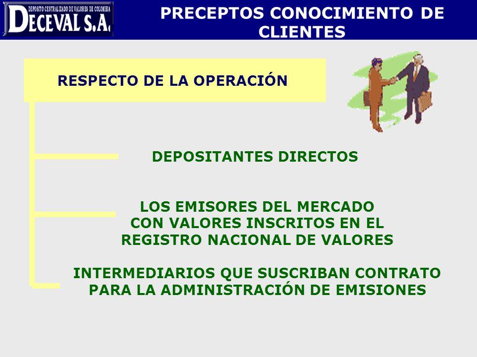 RESPECTO DE LA OPERACIÓN DEPOSITANTES DIRECTOS LOS EMISORES DEL MERCADO CON VALORES INSCRITOS EN EL REGISTRO NACIONAL DE VALORES INTERMEDIARIOS QUE SU