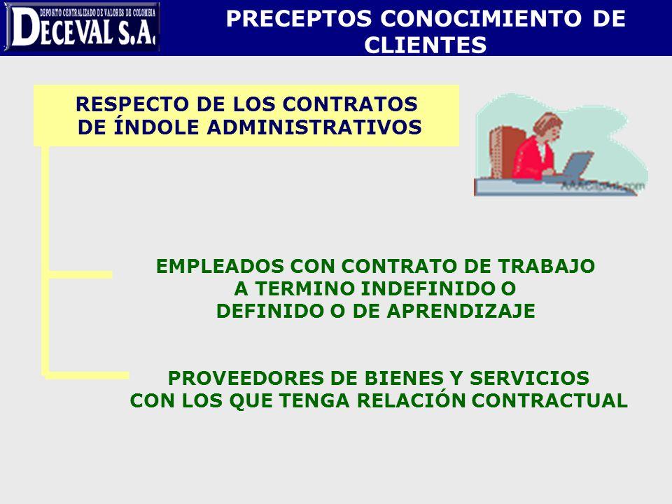 RESPECTO DE LOS CONTRATOS DE ÍNDOLE ADMINISTRATIVOS EMPLEADOS CON CONTRATO DE TRABAJO A TERMINO INDEFINIDO O DEFINIDO O DE APRENDIZAJE PROVEEDORES DE