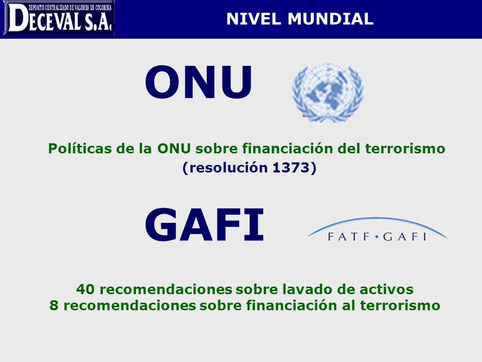 NIVEL MUNDIAL ONU Políticas de la ONU sobre financiación del terrorismo (resolución 1373) GAFI 40 recomendaciones sobre lavado de activos 8 recomendac