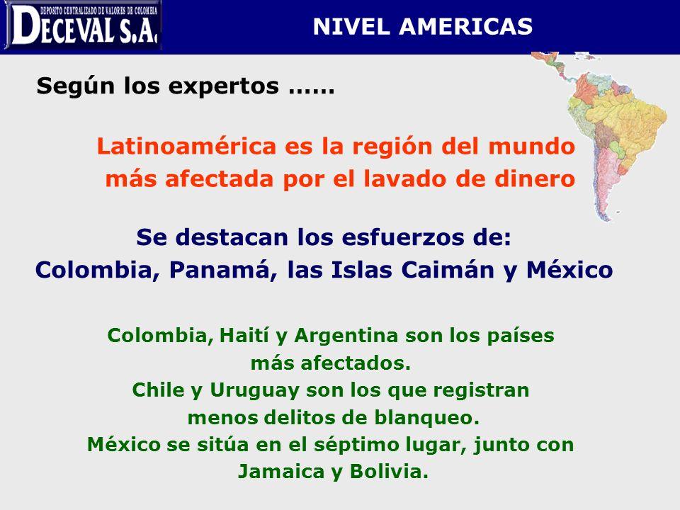 NIVEL AMERICAS Se destacan los esfuerzos de: Colombia, Panamá, las Islas Caimán y México Según los expertos …… Colombia, Haití y Argentina son los paí