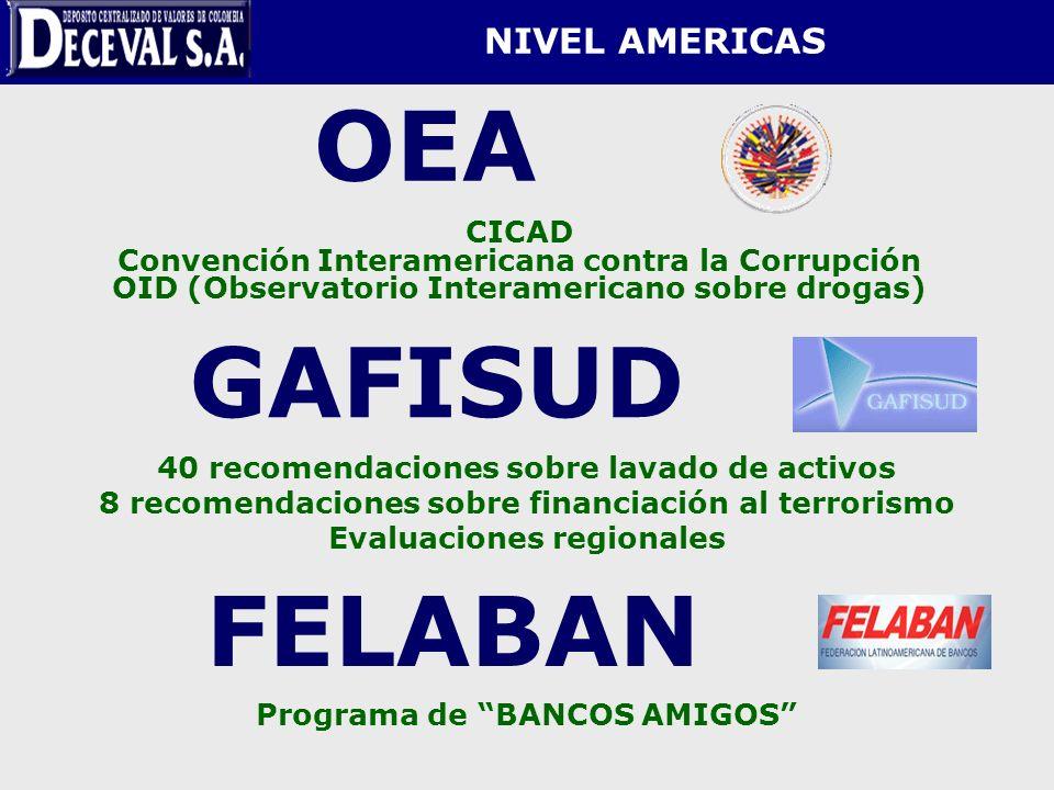 NIVEL AMERICAS OEA CICAD Convención Interamericana contra la Corrupción OID (Observatorio Interamericano sobre drogas) GAFISUD 40 recomendaciones sobr